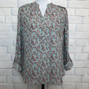 NWT The Limited Green Print Popover Blouse